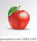 Red apple on transparent background. Vector, 3D 34821265