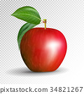 Red apple on transparent background. Vector, 3D 34821267