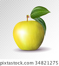 Yellow apple isolated on transparent background 34821275