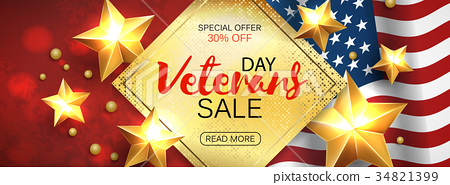 Veterans Day greeting card horizontal banner with 34821399