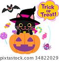 검은 고양이, 벡터, 할로윈 34822029