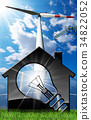 House with Solar Panel Wind Turbine and Power Line 34822052