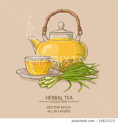 lemongrass tea illustration 34823523