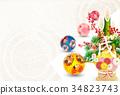 日本傳統手球 新年賀卡 賀年片 34823743