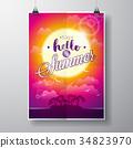 vector, summer, card 34823970