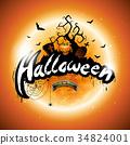 Vector Happy Halloween illustration pumpkin 34824001