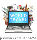 laptop with world travel landmark on white backgro 34824254