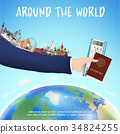 hand hold boarding pass passport and world landmar 34824255