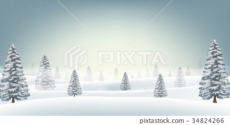 christmas snow field with tree background 34824266