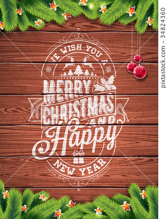 Vector Merry Christmas Holiday and Happy New Year 34824360