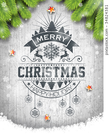 Vector Merry Christmas Holiday and Happy New Year 34824381