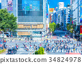 multiple intersection, shibuya, crossing 34824978