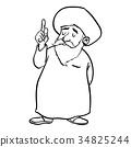 Cartoon Muslim Old man standing-Vector drawn 34825244
