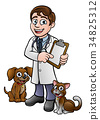 Vet Cartoon Character Holding Clipboard 34825312