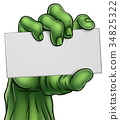 Zombie Monster Halloween Hand Holding Blank Sign 34825322
