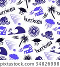hurricane natural disaster icons seamless pattern  34826998