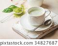 Green tea matcha latte 34827687