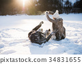 Beautiful senior couple in sunny winter nature. 34831655