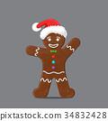 Gingerbread man in xmas hat 34832428