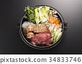 鍋裡煮好的食物 用鍋烹飪 葷菜 34833746