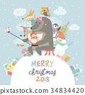 Cute animals with Santa Claus take a selfie 34834420