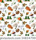 Hand drawn watercolor autumn accessories coat 34834799