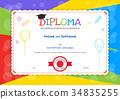 certificate, diploma, template 34835255