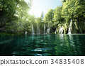 waterfall in forest, Plitvice Lakes, Croatia 34835408