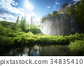 waterfall in forest, Plitvice Lakes, Croatia 34835410
