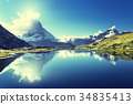 Reflection of Matterhorn in lake, Zermatt, Switzerland 34835413