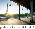 Eiffel Tower from Bir-Hakeim metal bridge in the morning, Paris, 34835419
