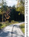 Gravel road in fall colors 34835782