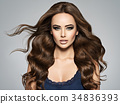 Face of a beautiful  woman with long brown  hair 34836393