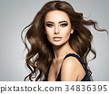 Face of a beautiful  woman with long brown  hair 34836395