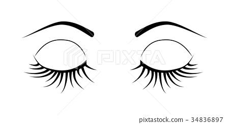 closed eyes eyelash extensions 34836897