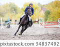 Young rider man galloping on bay horse in autumn 34837492