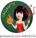 Devil girl for Halloween. Sexy she-devil 34838145