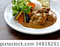 chicken curry, curry, curry and rice 34838201