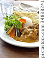 chicken curry, curry, curry and rice 34838241