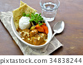 chicken curry, curry, curry and rice 34838244