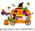 Halloween pumpkin carriage 34840611