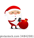 Christmas character Santa claus cartoon with smart 34842081