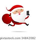 Christmas character Santa claus cartoon with smart 34842082
