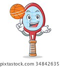 tennis racket character cartoon with basketball 34842635