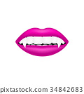 Vampire mouth in pink design on white background 34842683