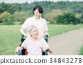 散步在輪椅的資深和幫手 34843278