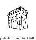 Arc de Triomphe black line vector illustration  34843486