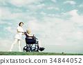 老人 轮椅 护理员 34844052