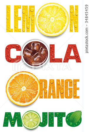 lemon, orange, mojito, cola text with water drops 34845459