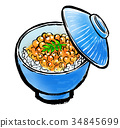 ikura-don, red caviar rice bowl, illustration 34845699